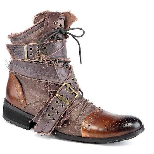 Best Personalized Bronze Gothic Punk Emo Fashion Ankle Boots for Men SKU-1280372