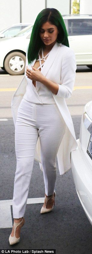 Best foot forward: Kylie wore T-bar high heels with pointed toes on her feet...