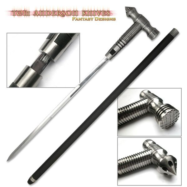 Hammer and swords head sword cane with push lock