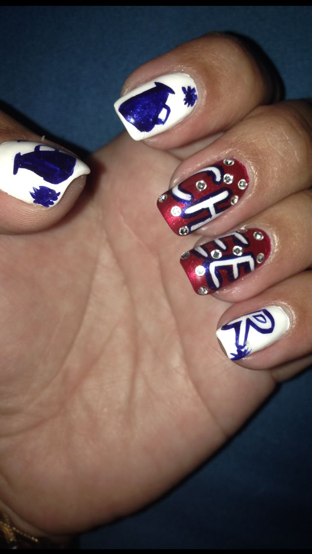 Red white and blue cheerleading nails