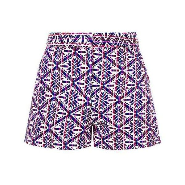 TopShop Tile Print Jacquard Shorts (€7,95) ❤ liked on Polyvore featuring shorts, aztec print shorts, jacquard shorts, aztec shorts, topshop shorts and cream shorts