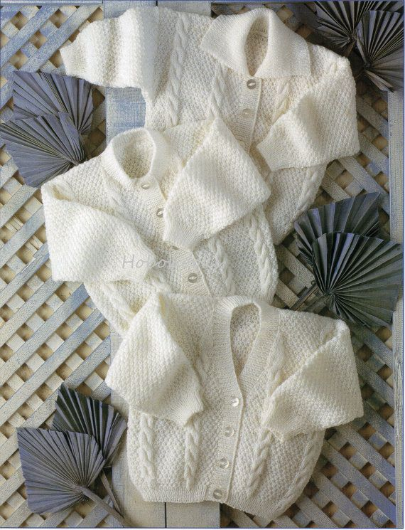 Baby / childs cardigan in 3 styles - premature sizes - 12 to 24 inch chest - 4…