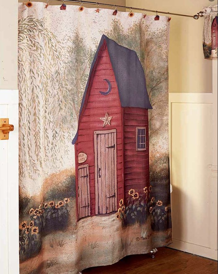 Bathroom Decorating Idea Fabric Shower Curtain Country Outhouse