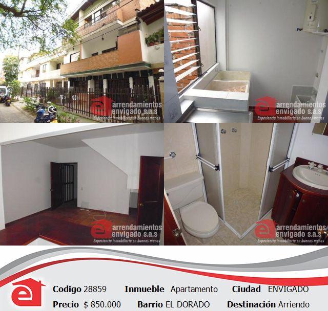 Hermoso apartamento en el Dorado, Envigado. $850.000 Conócelo con el código 28859 en nuestra página web www.arrendamientosenvigadosa.com.co, pregúntanos por este medio o comunícate a nuestro PBX 4446868.