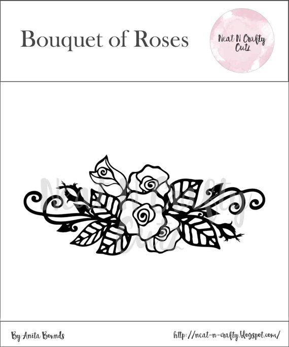 Bouquet of Roses Cut File. For scrapbooking and paper crafting