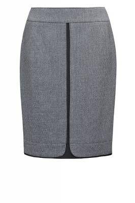 м-293/ серая Модель силуэта карандаш с модным эффектом двойной юбки   Юбки