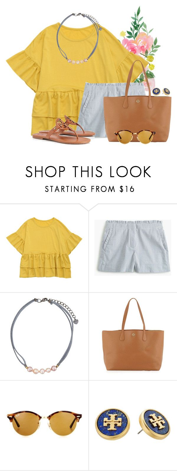 """""""It's always summer somewhere"""" by flroasburn ❤ liked on Polyvore featuring J.Crew, NAKAMOL, Tory Burch and Ray-Ban"""