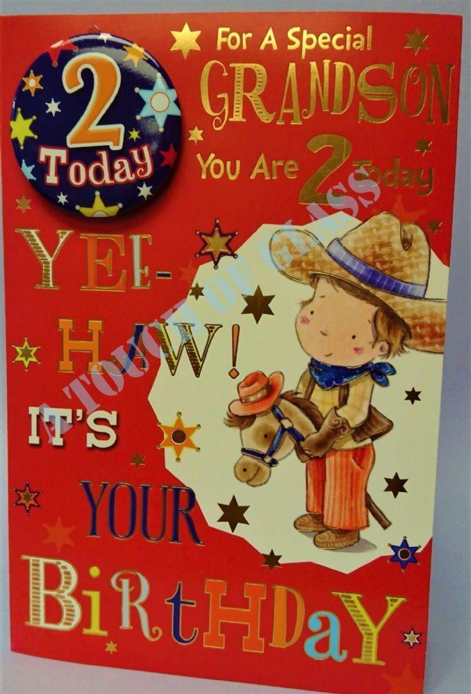 Grandson 2nd Birthday Badge Card Candy Club Greetings Cards Birthday Badge Grandson Birthday Birthday Cards