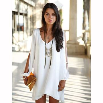 Show details for Women's Dress V-neck Loose Unequal Short Chiffon Dress
