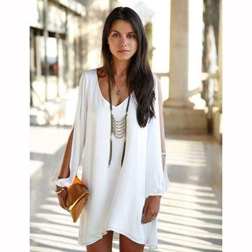 Show details for Women's Dress V-neck Loose Unequal Short Chiffon Dress