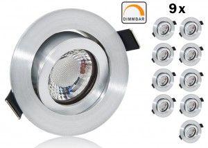 9er LED Einbaustrahler Set extra flach mit Marken Flat LED Spot LcLight 5 Watt Keramik Alu Feinschliff Rund Dimmbar 40 Watt Ersatz