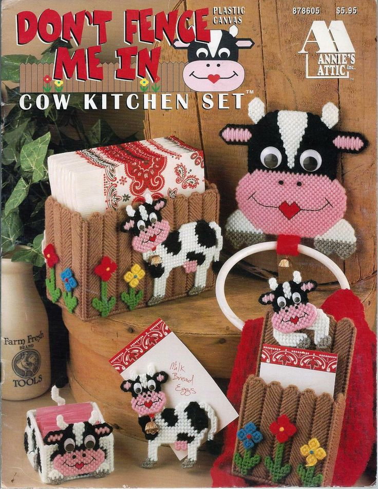 Country Notions - Don't Fence Me In Cow Kitchen Set Plastic Canvas Patterns - Annie's Attic , $6.25 (http://www.country-notions.com/dont-fence-me-in-cow-kitchen-set-plastic-canvas-patterns-annies-attic/)