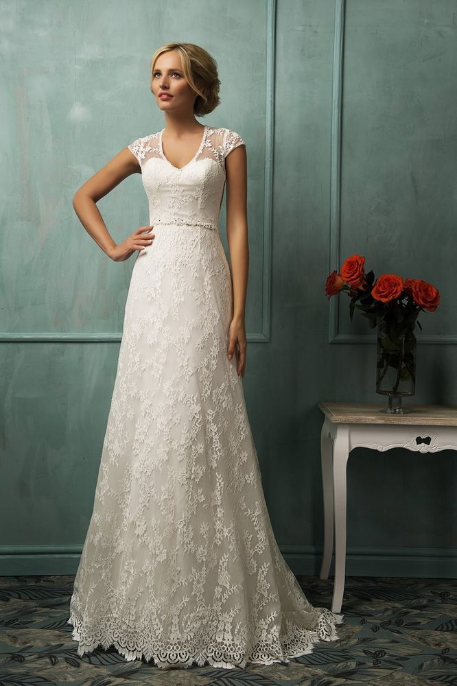 Sheer Back Lace Wedding Dresses With Sleeves 2015 New White Ivory Bridal Gowns