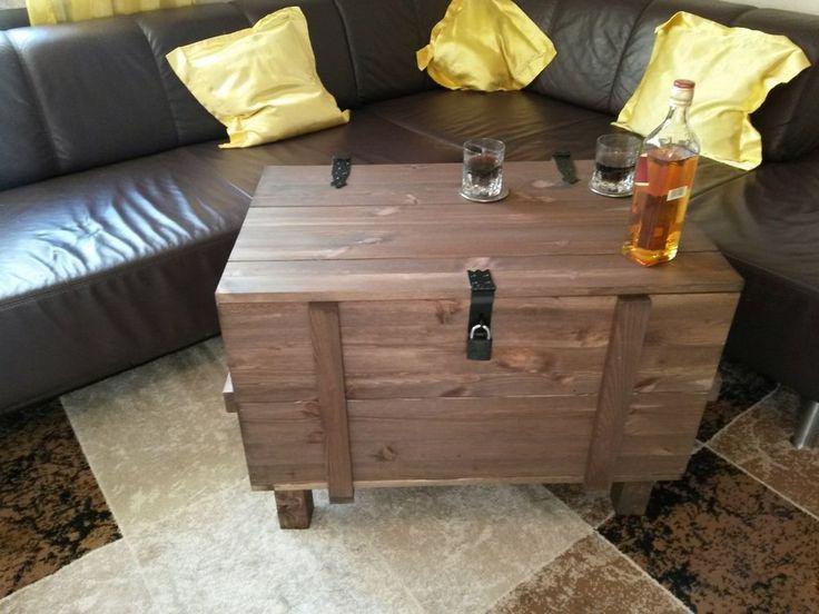Holztruhe Auf Beinen Rustikal Shabbystil Couchtisch Truhe Holzkiste