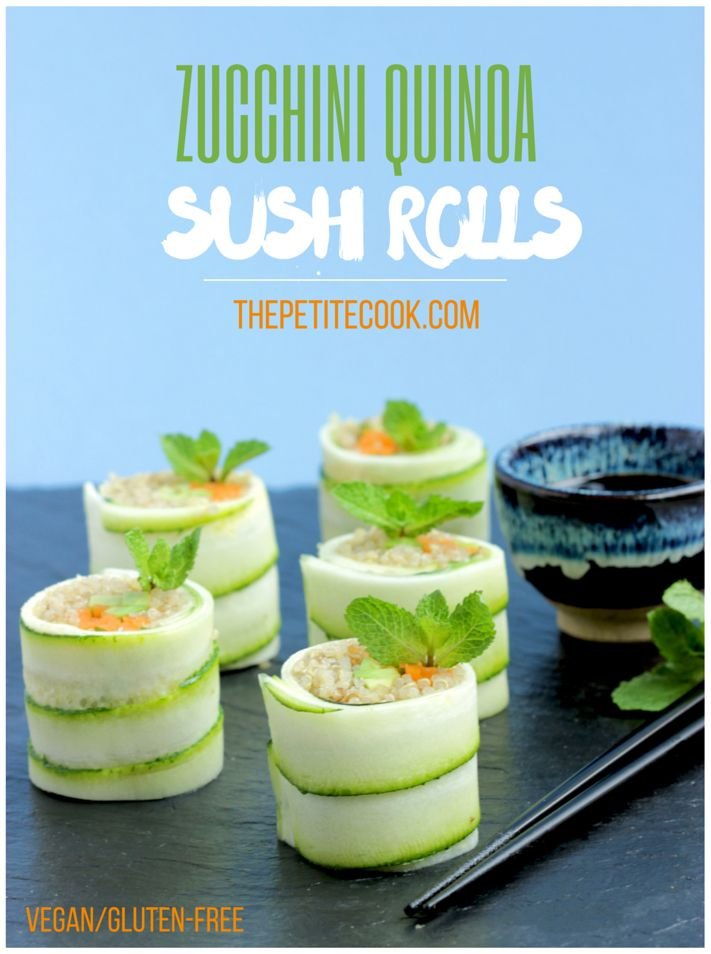 Vegan Zucchini Quinoa Sushi Rolls - Fresh and super crunchy, packed with veggies and superfoood quinoa. Make these awesome vegan/gluten-free/dairy-free rolls for a delightful lunch or as snack. Perfect to entertain guests! Recipe from thepetitecook.com