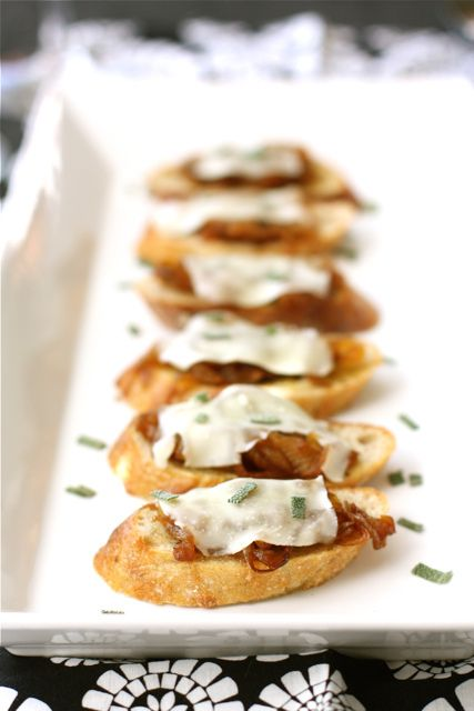 Crostini with Caramelized Onions, Melted Cheese & Sage | Recipe