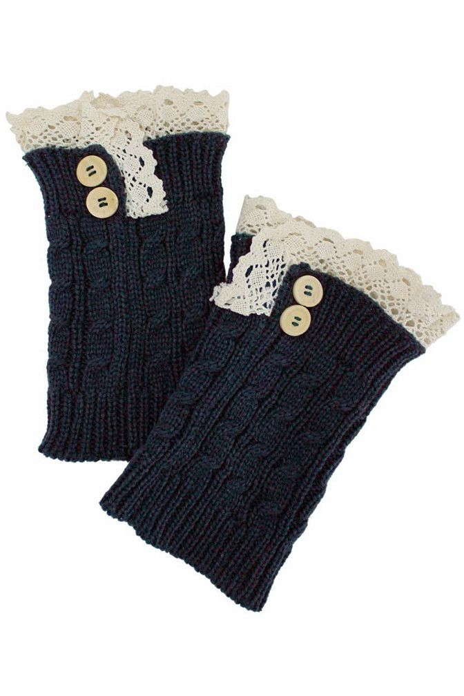 Cable Knit Boot Cuff Leg Warmers With Lace Trim