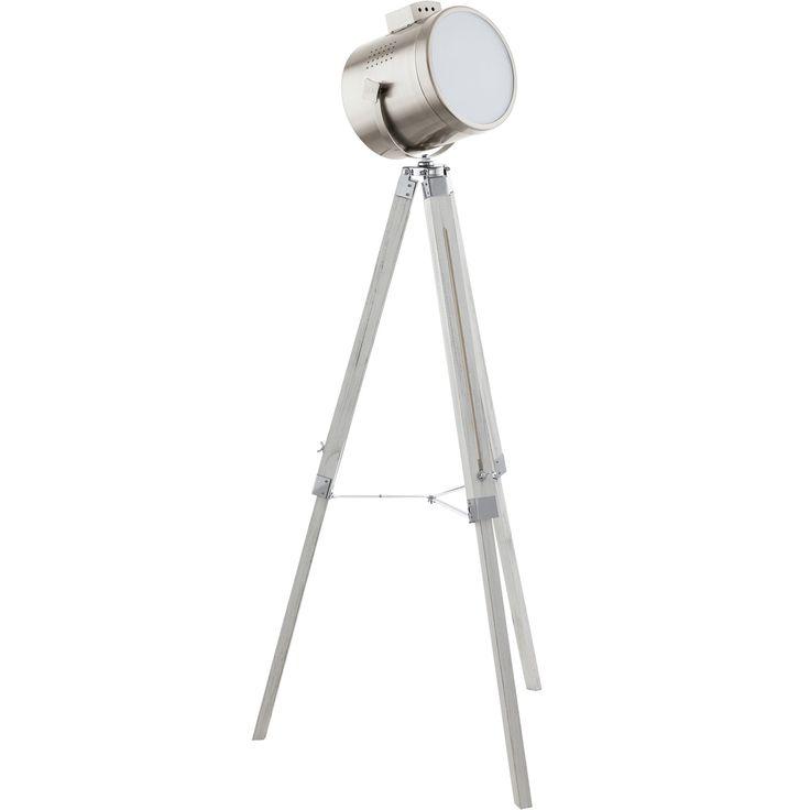 Inspirada en un foco de cine de época, esta es la lámpara de pie perfecta para un punto retro-industrial a tu salón.  Está fabricada en acero lacado y sus pies extensibles en forma de trípode están fabricados en madera disponible en dos colores, para que escojas el que mejor se adapta a tu espacio: Negro y Blanco decapado.