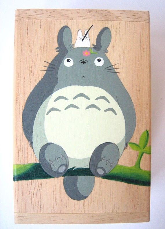 totoro painted wooden box