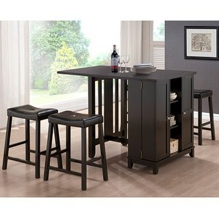 Aurora 5-Piece Dark Brown Modern Pub Table Set with Cabinet Base   I want this for my small kitchen/ dining room! would be perfect