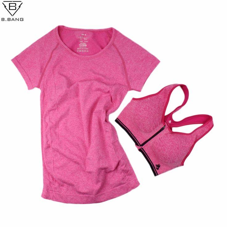 B. BANG Wanita Yoga Set untuk Gym Menjalankan Olahraga Setelan Olahraga T-shirt + Bra Set Olahraga Tops Cepat Kering Kebugaran Pakaian untuk wanita