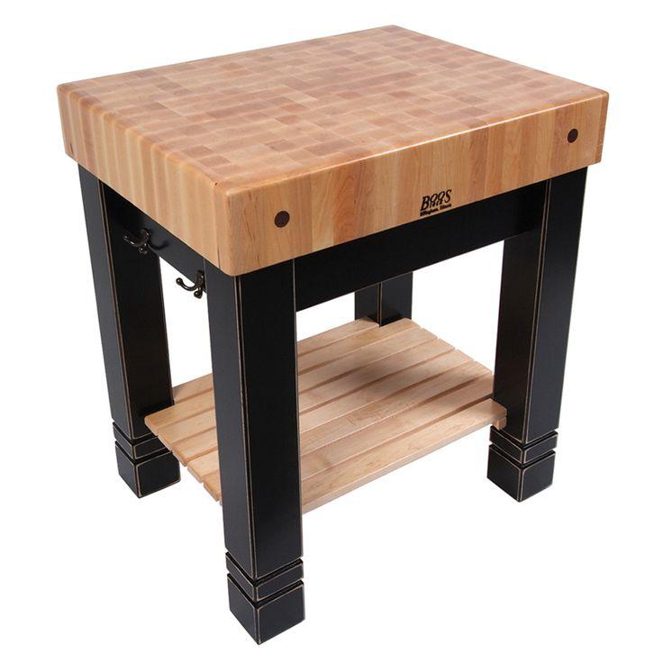 Elegant John Boos Butleru0027s Block Features End Grain Maple Top, Slatted Wood Shelf  And 2 Bronze Towel Racks.
