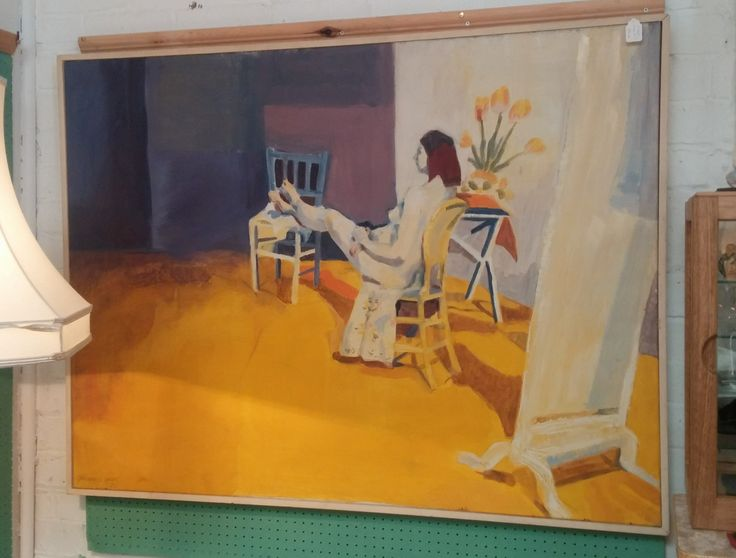 C Kerr Nude Oil Painting. Signed Caroline G Kerr '75 in bottom left-hand corner. Size measures 49 inches x 37 inches.