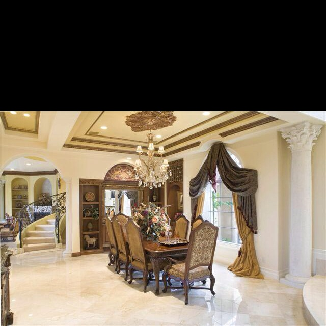 Tray ceiling - large column | Beautiful dining rooms ...