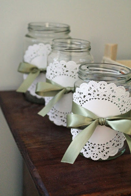 Party Jars - Mason Jars, Paper Doily, Ribbon. For a Tea Party?