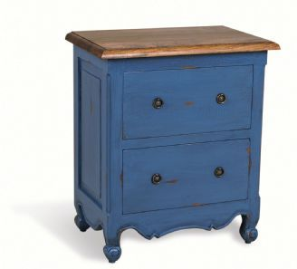 Painted Pine Shabby Chic French Large Bedside Table With Two Drawers