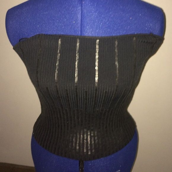 Black sequin tube top SALE normally $9! Stretchy knit tube top with sequin stripes. NWT. Essendi Tops Tank Tops