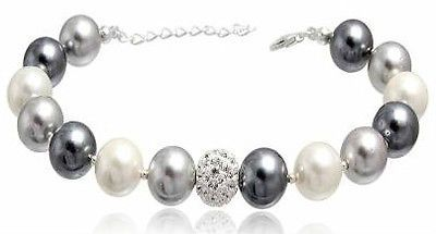 Sterling Silver Swarovski Crystal Clear Ball & Mix Cream & Grey Pearls Bracelet