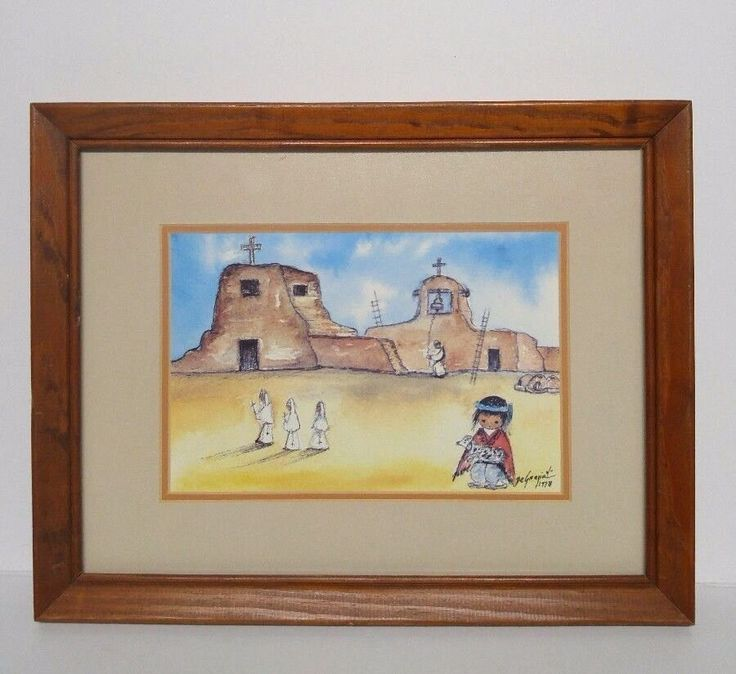 Ted DeGrazia Print Prayer Time Matted Framed Art Painting Sketch 1978 Signed