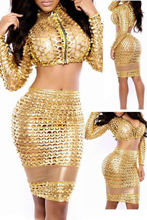 2PC Gold Hollow-out Skirt Set
