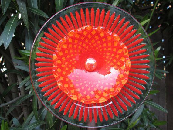 garden decor blazing red orange garden art by sasafrasflowers - Orange Garden Decor