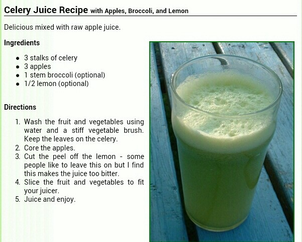 Recipe for celery juice