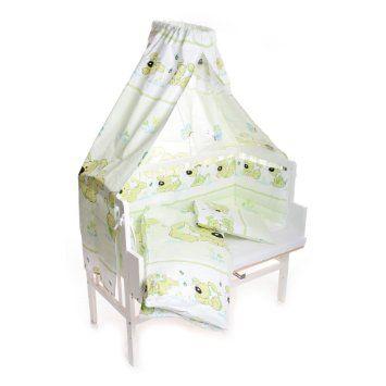 Babyblume - Lettino-culla con sbarre Maria, 90 x 40 cm, colore: bianco, con materasso e corredo da letto, decorazione con cagnolini, colore:...