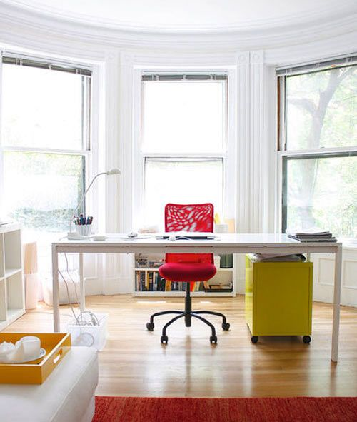 Ikea Melltorp Table comes in three sizes!Offices Desks, Bays Windows, Apartments Therapy, Dining Room Tables, Offices Spaces, Offices Colors, Offices Workspaces, Dining Tables, Home Offices