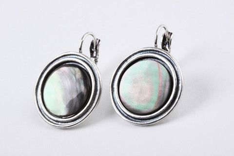 Abalone Disc Earrings: These exceptionally elegant earrings are perfect for adding a bit of vintage glamour to your outfit. Abalone set in disc on French wire style hook; antique silver look.  $39.90