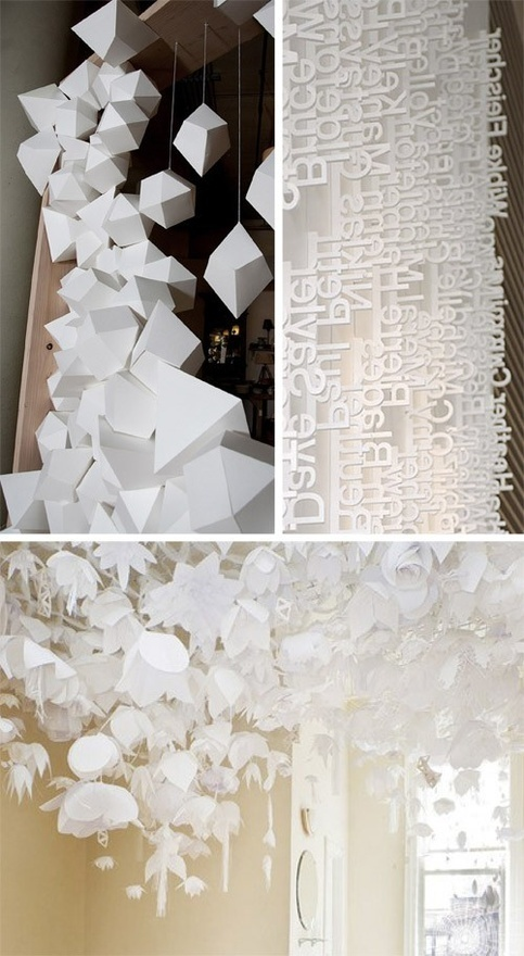 These geometric paper shapes and differing hanging lengths looks unreal!