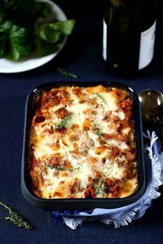 Gratin de pâtes saucisses et champignons façon lasagne/undejeunerdesoleil