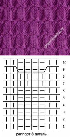 узор 396 колокольчики из кос | каталог вязаных спицами узоров