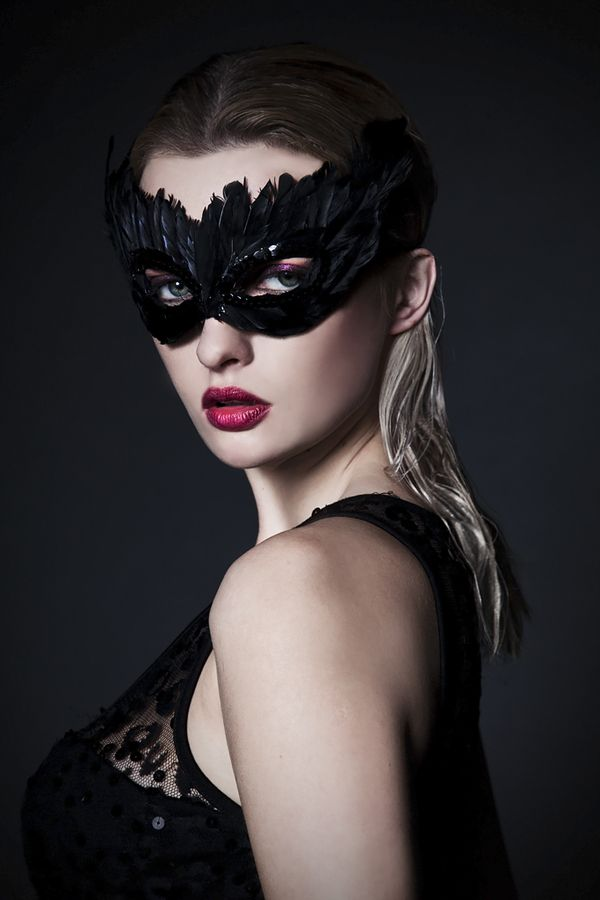 Feather mask (inspiration). Black feathers and sequins