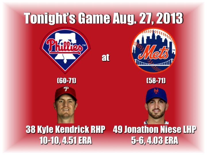 Kyle Kendrick takes the mound as the Philadelphia Phillies look to remain hot against the New York Mets. Here's tonight's preview with game notes and lineups: http://www.philliesnetwork.com/?p=9945