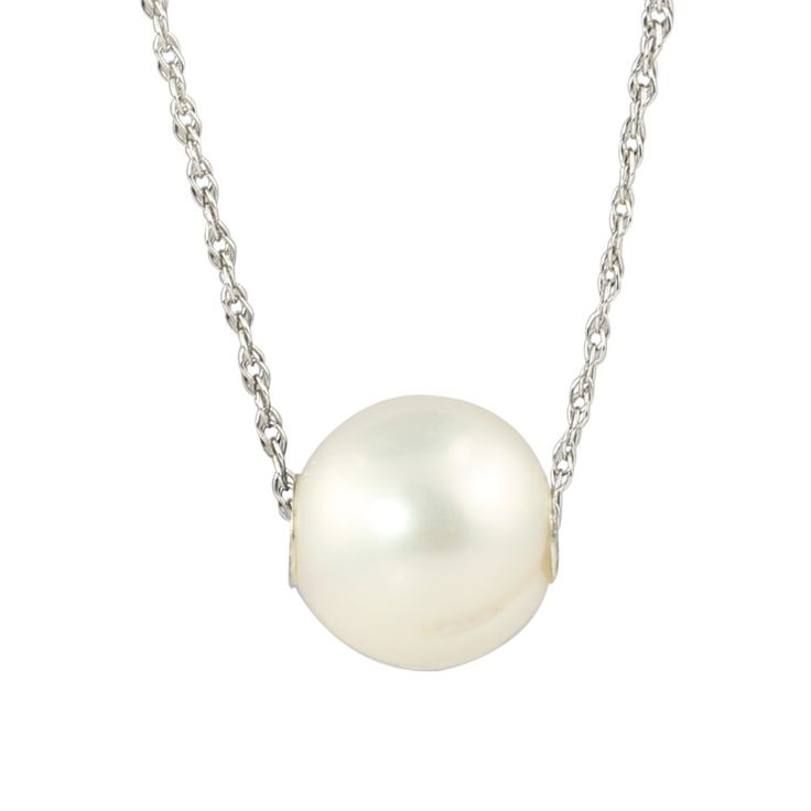 10mm Semi Round Freshwater Cultured Pearl Necklace with 18-inch Curb Chain