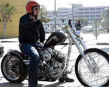Brad Pitt on a custom Harley Shovelhead
