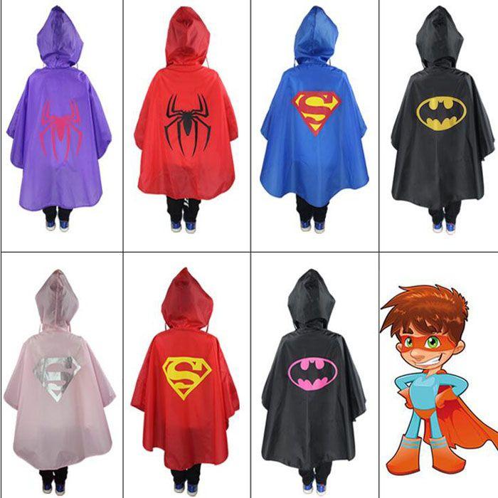 1 Stks/set Leuke Baby Kids Regenjas Superman Batman Spiderman Regenkleding Jongens Meisjes Waterdichte Regenjas Kleding Superhero Regenpak