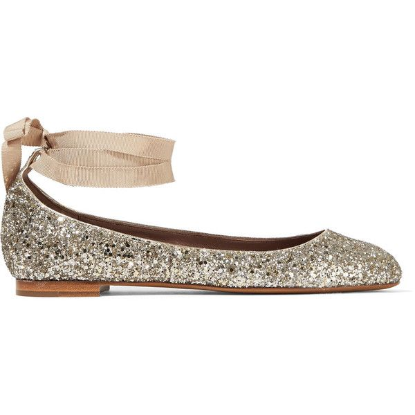 Tabitha Simmons Daria lace-up glittered leather ballet flats ($380) ❤ liked on Polyvore featuring shoes, flats, glitter flats, ballerina flat shoes, lace up flat shoes, flat pumps and round toe ballet flats