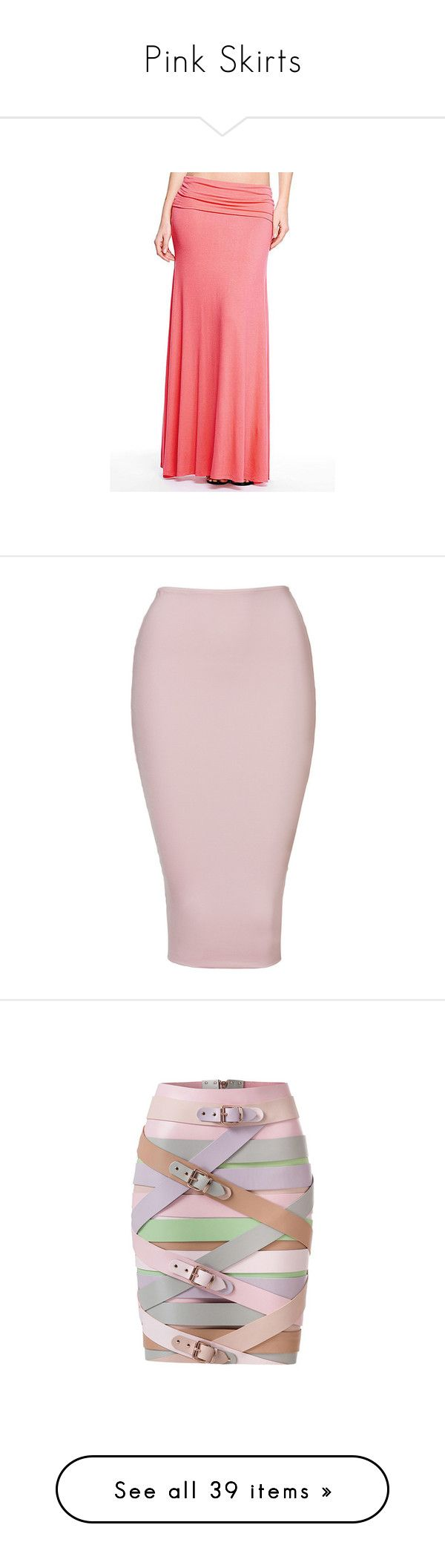 """""""Pink Skirts"""" by eternalfeatherfilm on Polyvore featuring skirts, coral, floor length skirts, maxi skirt, fold over long skirt, red maxi skirt, ankle length skirt, calf length skirts, pink bodycon skirt and body con skirt"""