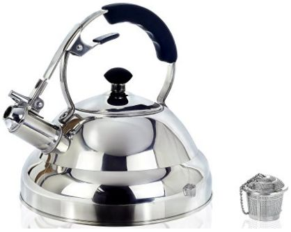 Surgical Stainless Steel Whistling Tea Kettle, 2.75 Quart Stove Top Kettle Teapot with Layered Capsule Bottom, Silicone Handle